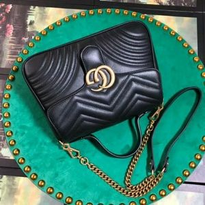 Gucci GG marmont top handle black bag